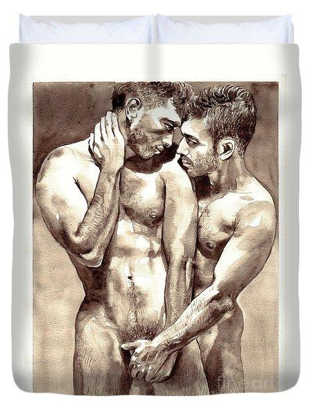 Gay Love Watercolor Duvet Cover