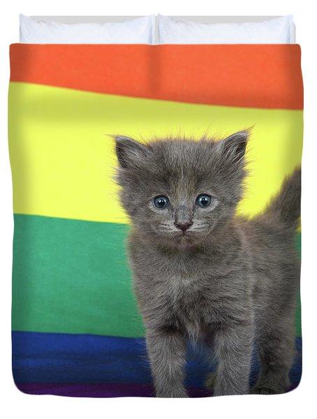 Gay Pride Grey Kitten Duvet Cover