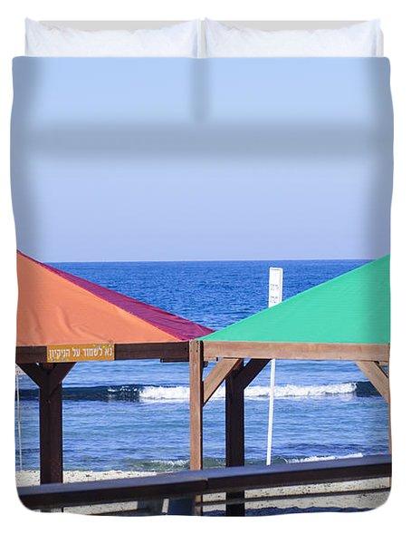 Gay Rainbow Flag Colours On A Beach In Tel Aviv Duvet Cover