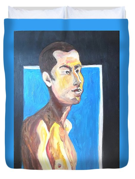 Duvet Cover featuring the painting Gay Survivor by Esther Newman-Cohen