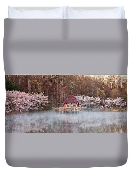 Gazebo And Cherry Trees Duvet Cover