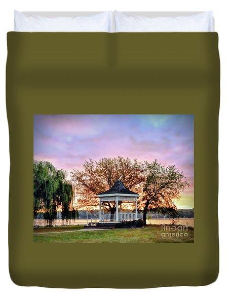 Duvet Cover featuring the photograph Gazebo Sunrise At Claytor Lake by Kerri Farley