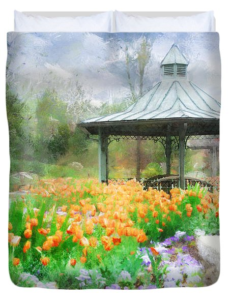 Duvet Cover featuring the digital art Gazebo With Tulips by Francesa Miller