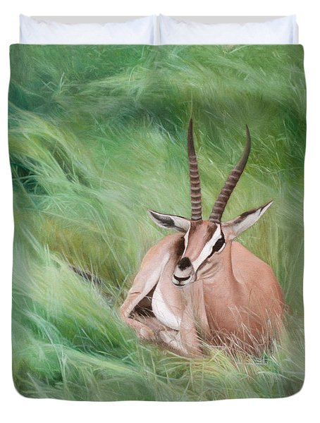 Gazelle In The Grass Duvet Cover by Joshua Martin