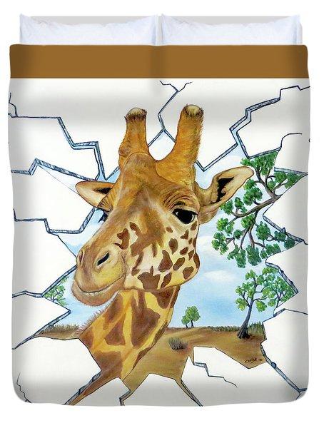 Gazing Giraffe Duvet Cover