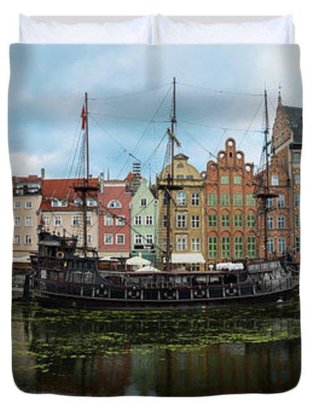 Gdansk Poland Historic Riverfront Duvet Cover