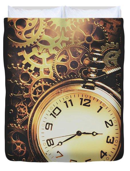 Gears Of Time Travel Duvet Cover