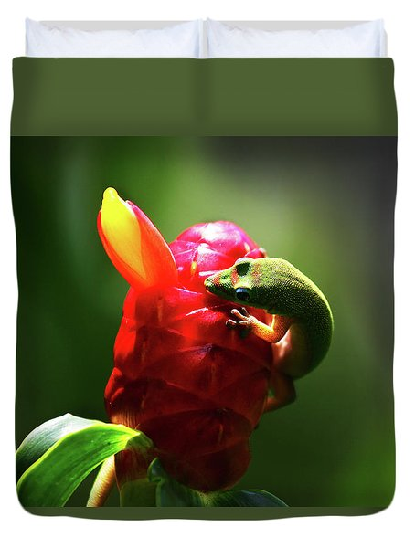 Duvet Cover featuring the photograph Gecko #1 by Anthony Jones