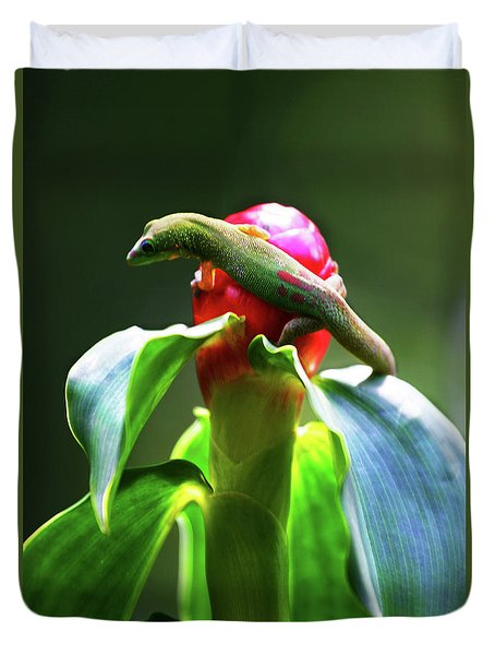 Duvet Cover featuring the photograph Gecko #3 by Anthony Jones