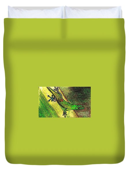 Gecko On The Green Duvet Cover