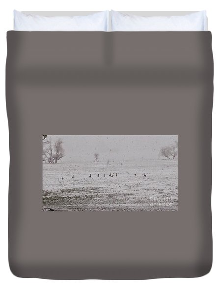 Geese During The Snow Storm Duvet Cover