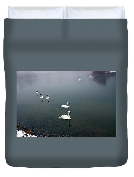 Geese In A Row Duvet Cover