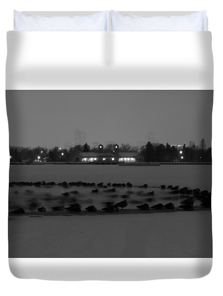 Geese In Frozen Lake Duvet Cover