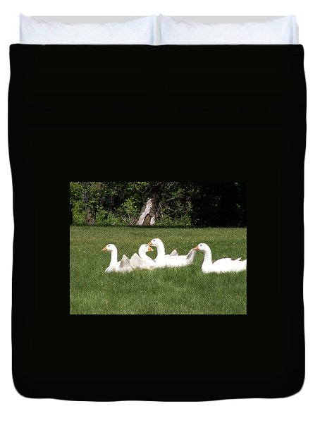 Geese In The Grass Duvet Cover