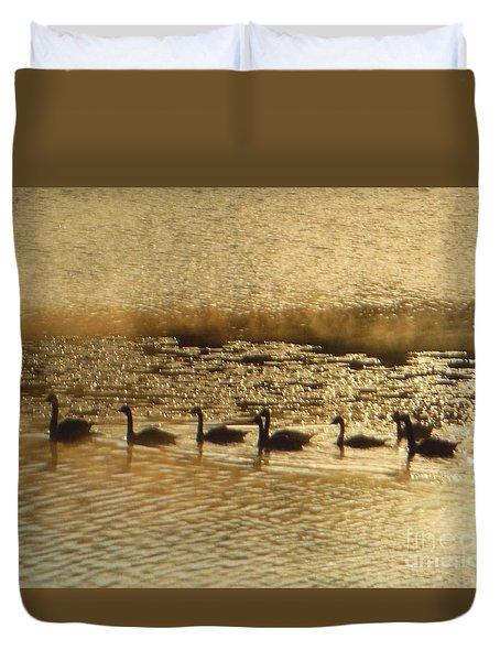 Geese On Golden Pond Duvet Cover
