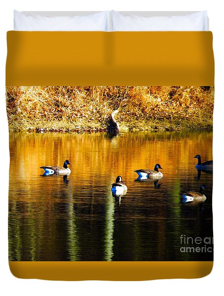 Geese On Lake Duvet Cover