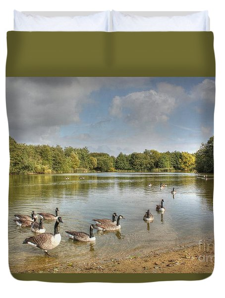 Geese On The Lake Hdr Duvet Cover