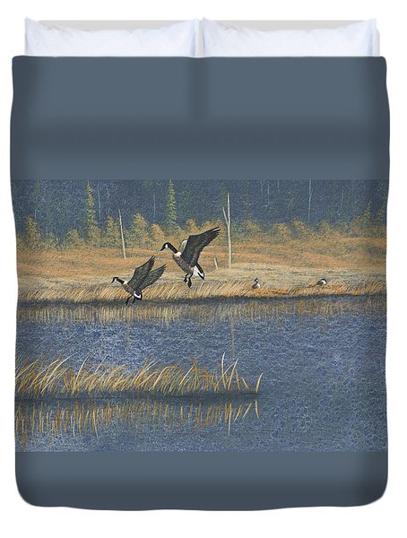 Duvet Cover featuring the painting Geese by Richard Faulkner