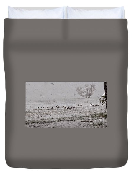 Geese Walking In The Snow Duvet Cover
