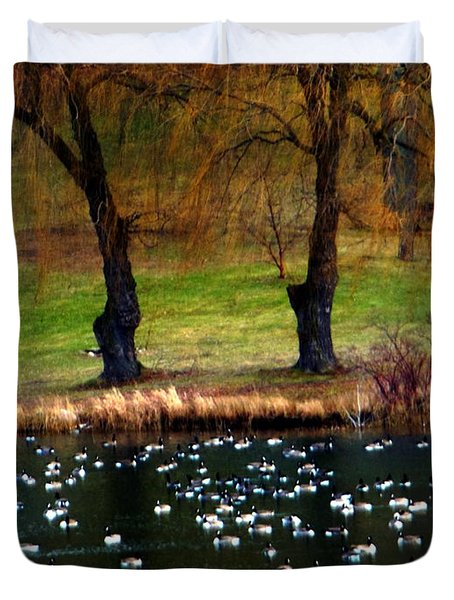 Geese Weeping Willows Duvet Cover