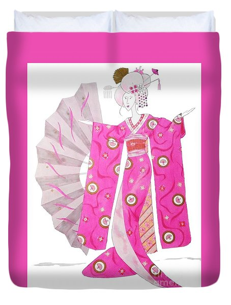 Geisha Barbie -- Whimsical Geisha Girl Drawing Duvet Cover