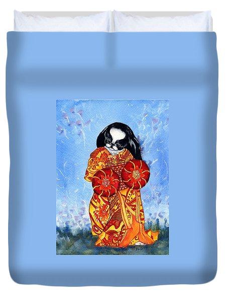 Geisha Chin Duvet Cover by Kathleen Sepulveda