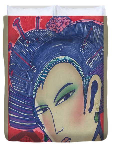 Duvet Cover featuring the painting Geisha  Dragonlady by Don Koester