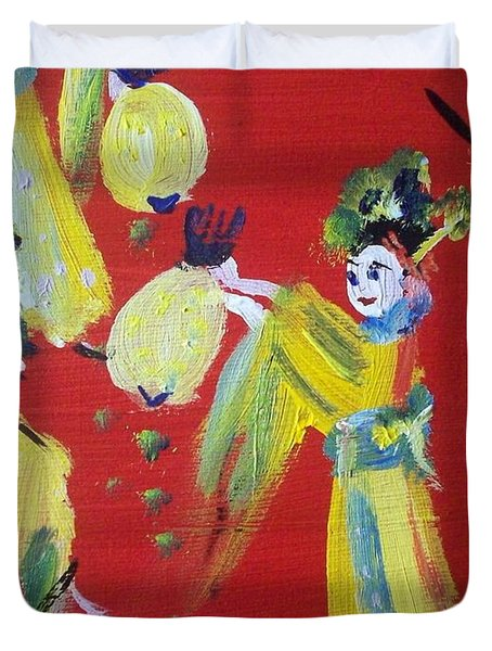 Duvet Cover featuring the painting Geisha Girl by Judith Desrosiers