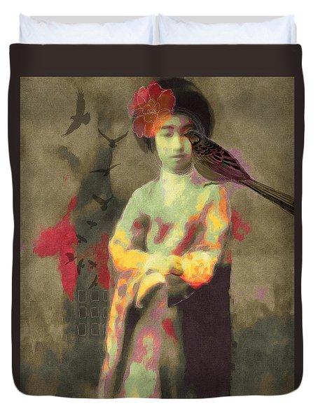 Duvet Cover featuring the digital art Geisha Girl by Lisa Noneman