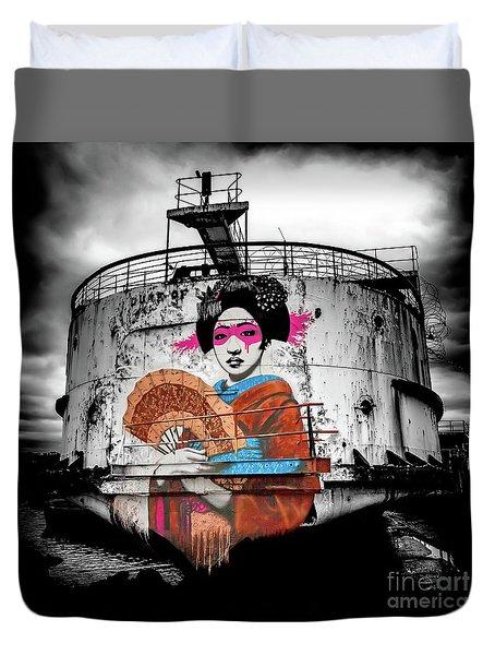 Duvet Cover featuring the photograph Geisha Graffiti by Adrian Evans