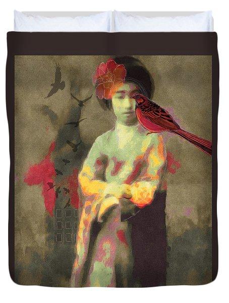 Duvet Cover featuring the digital art Geisha by Lisa Noneman
