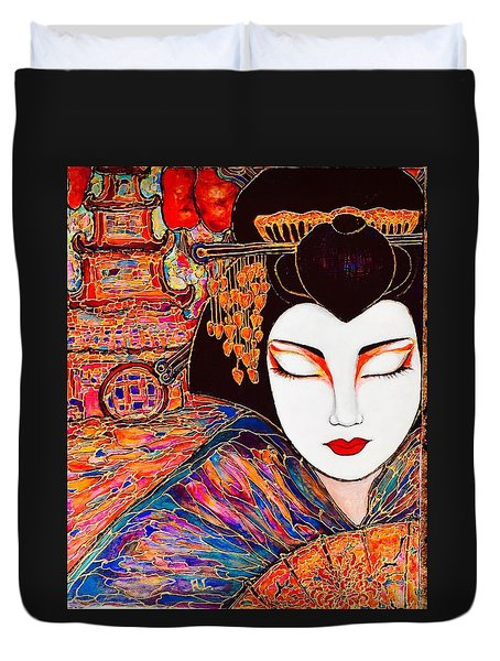 Duvet Cover featuring the painting Geisha by Rae Chichilnitsky