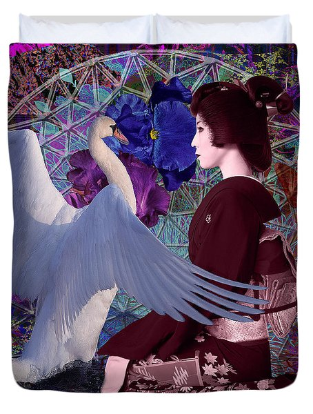 Geisha Swan Dance Duvet Cover