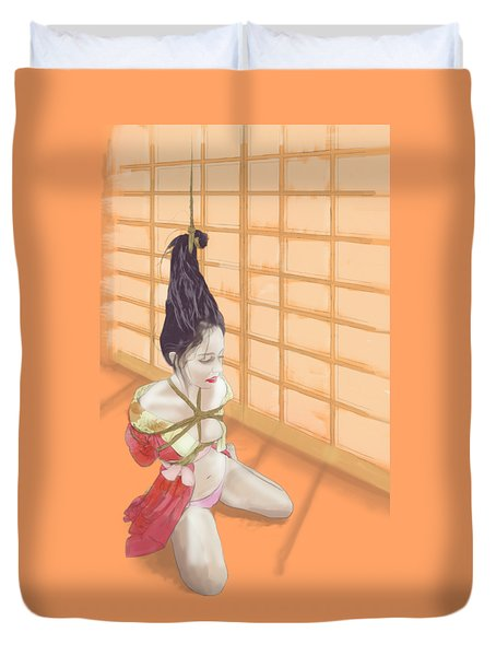 Duvet Cover featuring the mixed media Geisha by TortureLord Art