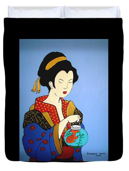 Duvet Cover featuring the painting Geisha With Fish by Stephanie Moore