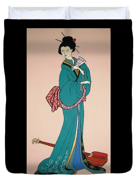 Duvet Cover featuring the painting Geisha With Guitar by Stephanie Moore