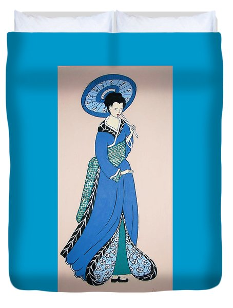 Duvet Cover featuring the painting Geisha With Parasol by Stephanie Moore