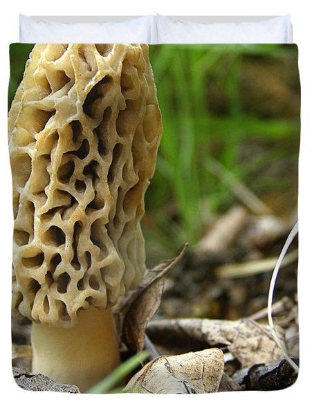 Duvet Cover featuring the photograph Gem Of The Forest - Morel Mushroom by Angie Rea