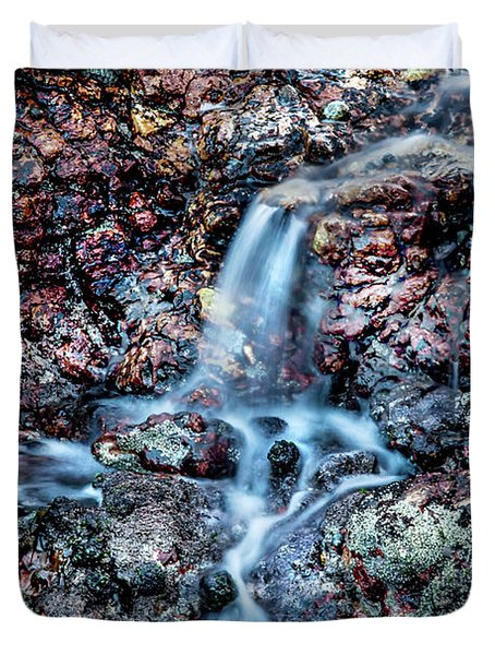 Duvet Cover featuring the photograph Gemstone Falls by Az Jackson