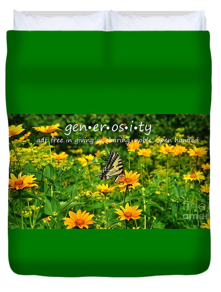 Duvet Cover featuring the photograph Gen Er Os I Ty  by Diane E Berry