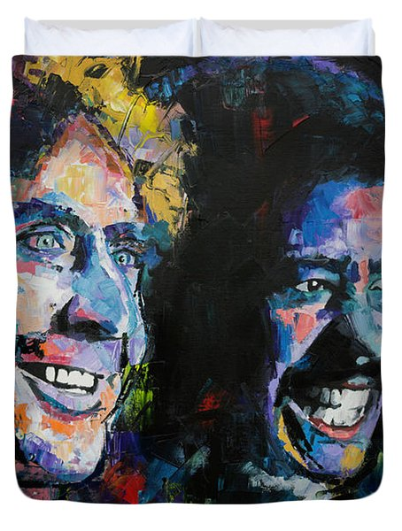 Duvet Cover featuring the painting Gene Wilder And Richard Pryor by Richard Day