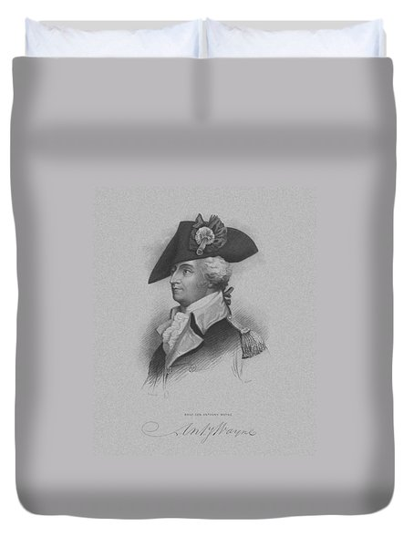 Duvet Cover featuring the mixed media General Anthony Wayne by War Is Hell Store