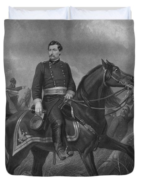 Duvet Cover featuring the mixed media General George Mcclellan On Horseback by War Is Hell Store
