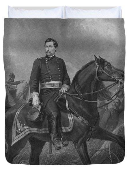 General George Mcclellan On Horseback Duvet Cover by War Is Hell Store