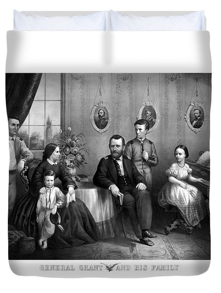 Duvet Cover featuring the mixed media General Grant And His Family by War Is Hell Store