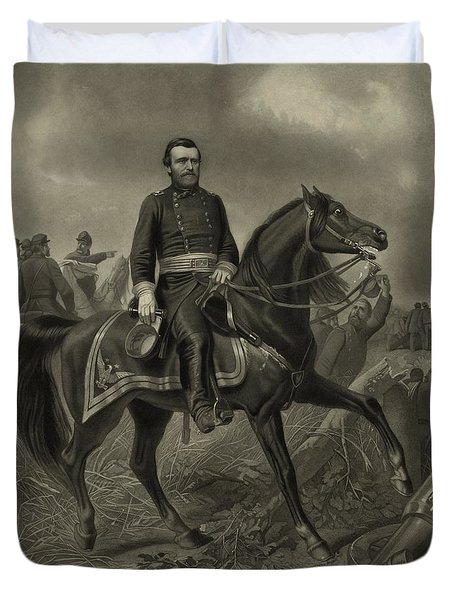 General Grant On Horseback  Duvet Cover by War Is Hell Store