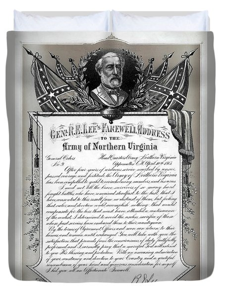 Duvet Cover featuring the mixed media General Robert E. Lee's Farewell Address To Confederate Soldiers by Daniel Hagerman