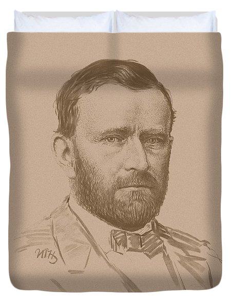 Duvet Cover featuring the mixed media General Ulysses S Grant by War Is Hell Store