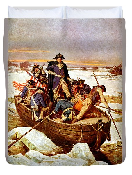 General Washington Crossing The Delaware River Duvet Cover