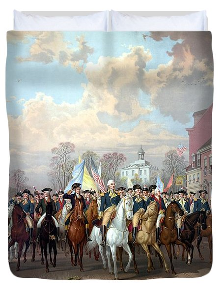 General Washington Enters New York Duvet Cover